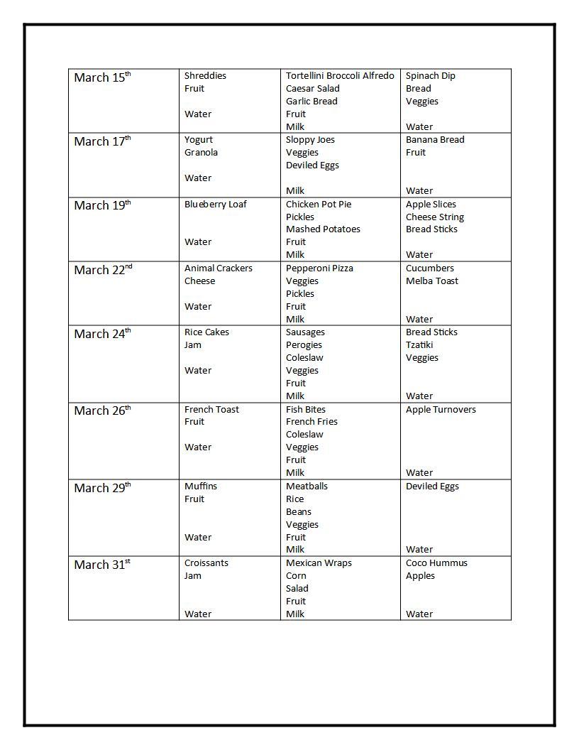 March Menu page 2